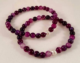 Beautiful filigree gemstone bracelet made of purple agate and 925 silver bead