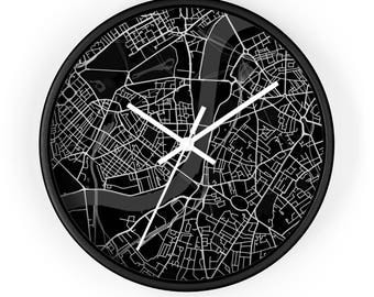 London Map Wall Clock, London Map, Map Clock, London Gift, Housewarming Gift, Black  White Map, Minimalist Map