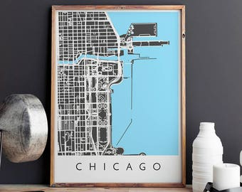 Chicago Map Print, Chicago Print, Chicago Map, Chicago Poster, Chicago Art, Modern Map Print, Map of Chicago, Chicago City Map
