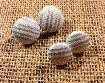 Silver Stripes - Fabric Button Earrings
