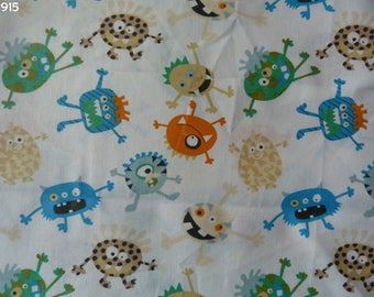 Fabric C915 monsters on white coupon 35x50cm