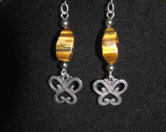 Tiger eye and butterfly earrings