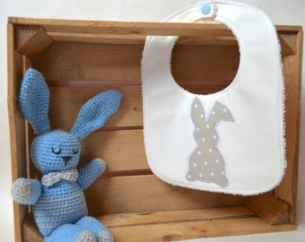 Bib white with grey Bunny with white stars