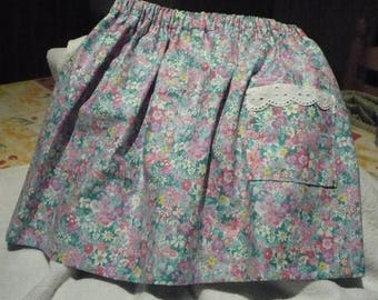 cotton pastel colored flowers skirt