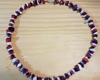 Red white and blue chip necklace
