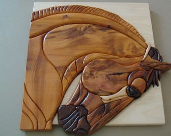 intarsia wood horse head