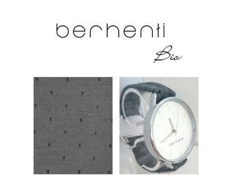Elegant watch Berhenti, fabric bracelet organic made in France