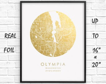 """Olympia City 16""""x20"""" Map Gold Print, Real Gold Foil Print, Olympia City Сircle Map Poster, Olympia City Gift, US, GoldenGraphy"""