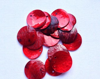 A set of 5 round sequins in mother-of-Pearl shell iridescent 18 mm red (R32)