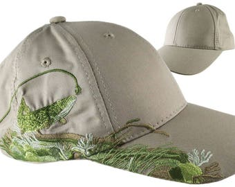 Custom Personalized Pike Large Embroidery on an Adjustable Full Fit Beige Baseball Cap Front Decor Selection with Options for Side and Back