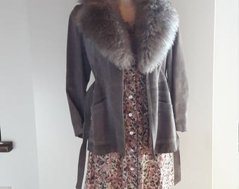 60s 70s grey shearling collar suede leather coat