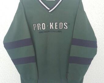 Rare! Vintage 90's PRO KEDS AMERICAN Original big logo sweatshirt Medium size