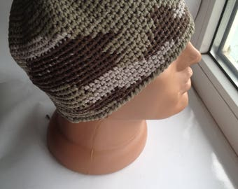 Knitted hat in military style