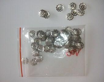 100 bead caps silver filligree 0.80 cm