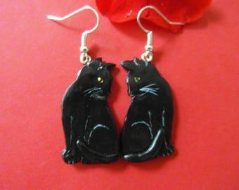"""""""Black cats"""" earrings made of cold porcelain"""