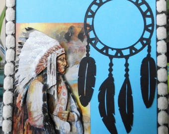 Indian Chief on cutting dreamcatcher 3D card