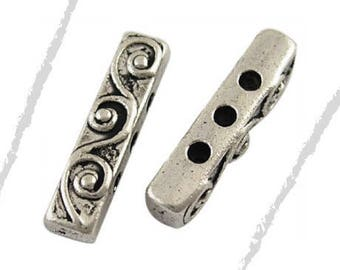 Set of 4 spacer beads, silver, 18 x 4 mm, hole 1.5 mm