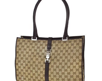 524 GUCCI Authentic Jackie Shoulder Tote Bag Hand Vintage GG Pattern Brown Canvas Leather Italy Old