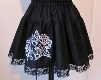 Ouija board embroidered skirt
