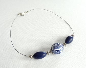 Blue white silver necklace