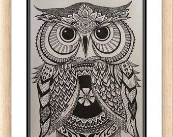Zentangle Owl Print, Mandala Owl Print, , Owl Wall Art, Zentangle Owl Drawing, Black and White Owl Drawing,  Zen Art,