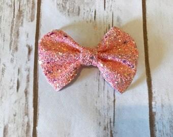 Peachy Pink Chunky Glitz Bow