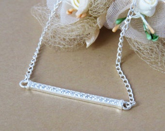 Silver Bar Necklace, Sterling Silver Bar Necklace, Birthstone Necklace, Rhinestone Necklace, Initial Necklace, Simple Necklace