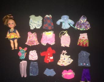 Doll ~ Vintage Small Doll and Clothes - Unmarked Clone Doll Type Clothes