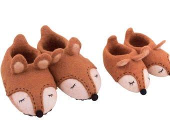 Sweet felt fox slippers booties for kids