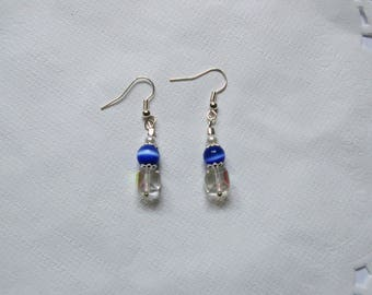 Blue and transparent beads Silver earrings