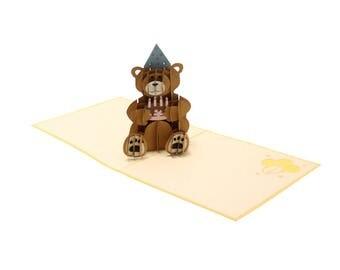Creative PopUp's - Happy Birthday Teddy Bear w/ Cake 3D PopUp card