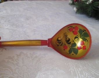 Vintage Russian Spoon, Wooden Spoon, Vintage Wooden Spoon,Soviet Khokhloma Spoon, Hand Painted Spoon, Russian Folk Art, Soviet Kitchen Decor