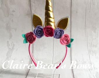 Floral embellished unicorn horn Alice band