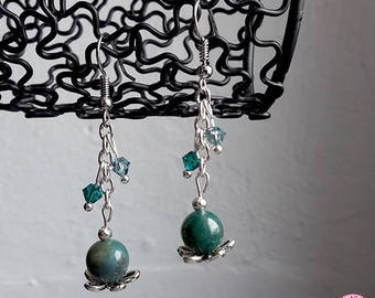 MOSS Agate earrings and Swarovski crystals