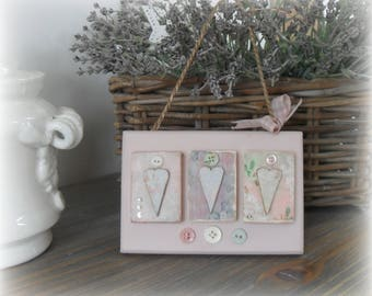 VINTAGE STYLE  Heart Plaque, Home Bedroom Decor, Wood, Pink, Decoupage, Gifts for Her