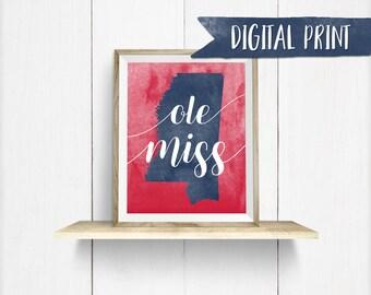 Ole Miss watercolor print, Printable Wall Decor, Digital Print