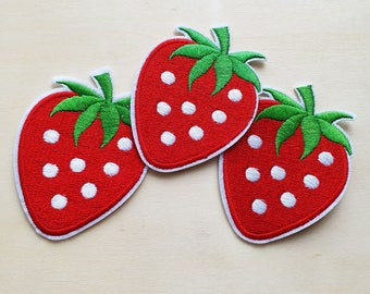 A dozen - 12pcs - Red Strawberry Fruit Embroidered Iron on Patch Applique embroidery