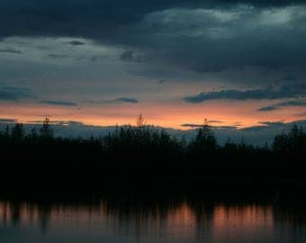 Alaskan Sunset Over A Lake
