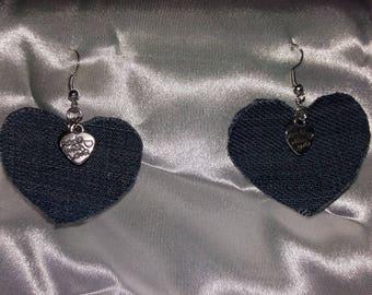 heart shape earring with jeans