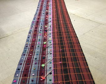 "2""9x15""7 ft/ 33""5 x189""0 inc/88x480 cmRed and blue oushak rug runner,vintage turkish kilim rug runner, embroidrey kilim rug runner, runner"