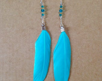 Turquoise feather and Swarovski crystal earrings
