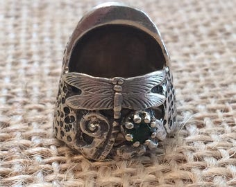 Liz Dragonfly Thimble with Gem Open Nail Sewing Thimble by TJ Lane