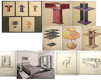 Signed Art Deco Painting Drawing Group 5 Original Projects Cabinetmaker Furniture Designs by ROSSATO Belgium 1930-40
