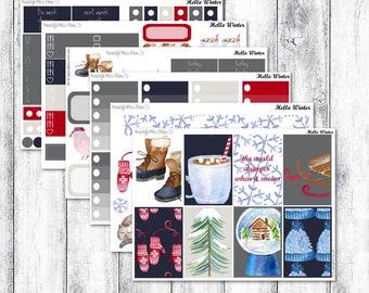 Hello Winter // Classic Happy Planner // Weekly Stickers Kit // Winter Weekly Sticker Kit // Winter Stickers