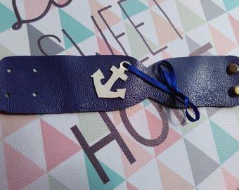 Blue leather women bracelet
