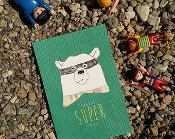 Superbeer, superhero, have a nice day, superbear, animal with mask, birthday card boys, superhero birthday, kids illustration bear