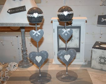 candle holder shabby grey and white lace heart