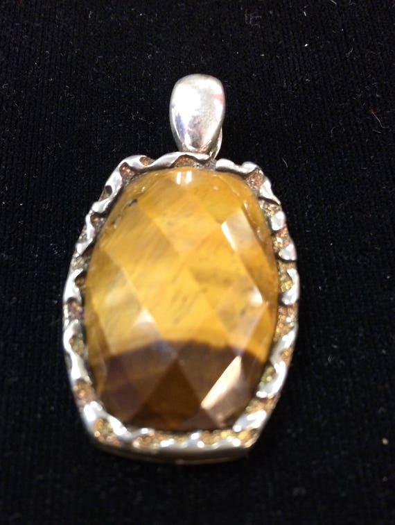 Cushion Cut Tigers Eye Pendent Set in Sterling Silver