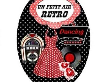 cabochon 18x25mm, dress a little bit retro, vintage