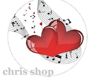 30mm cabochon hearts and music